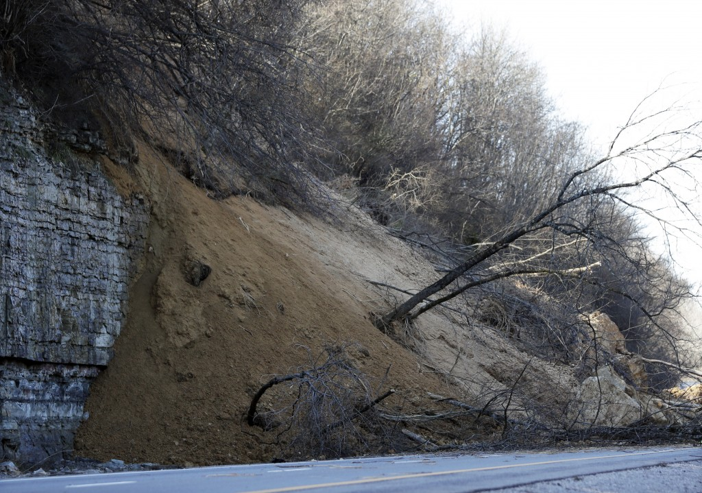 The eastbound lanes of Interstate 24 are blocked after a landslide occurred after several days of heavy rains Sunday, Feb. 24, 2019, north of Nashvill