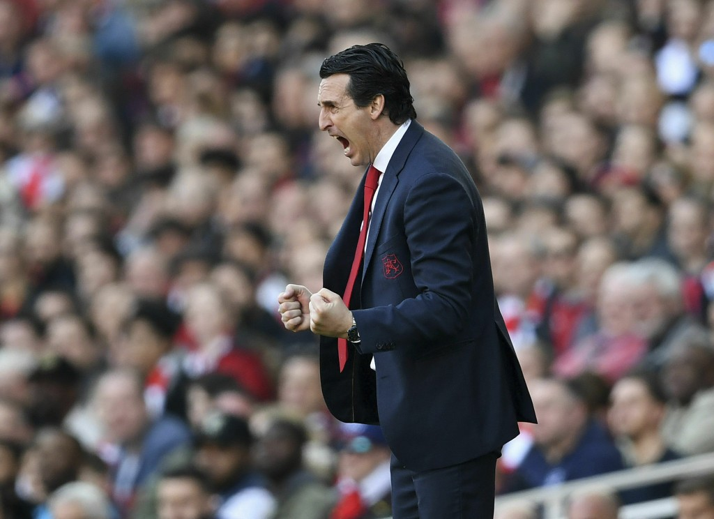 Arsenal manager Unai Emery during the English Premier League soccer match against Southampton at the Emirates Stadium, London, Sunday Feb. 24, 2019. (