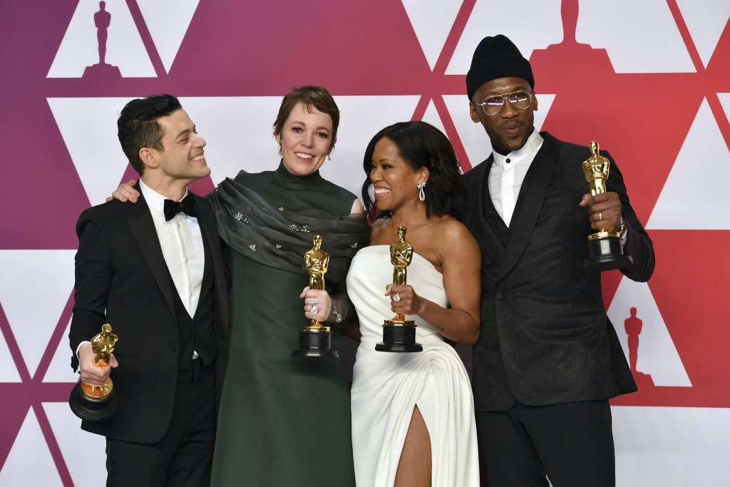 """Rami Malek, from left, winner of the award for best performance by an actor in a leading role for """"Bohemian Rhapsody"""", Olivia Colman, winner of the aw"""