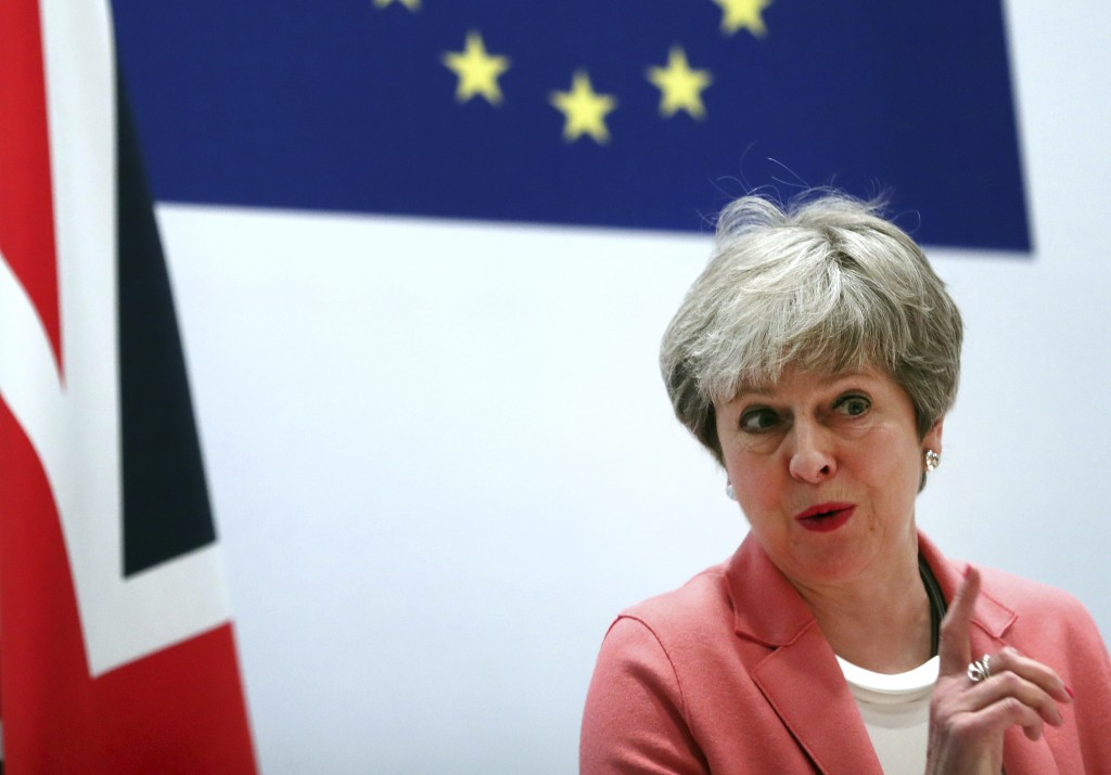 British Prime Minister Theresa May speaks during a media conference at the conclusion of an EU-Arab League summit at the Sharm El Sheikh convention ce...