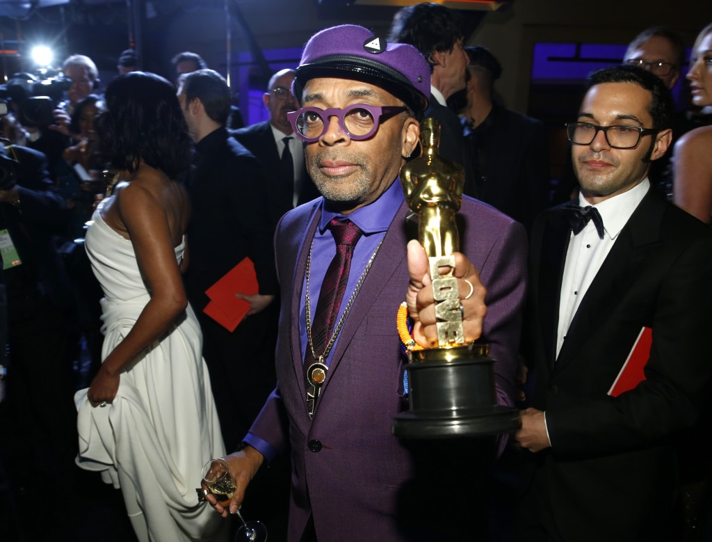 """Spike Lee, winner of the award for best adapted screenplay for """"BlacKkKlansman"""", attends the Governors Ball after the Oscars on Sunday, Feb. 24, 2019,"""