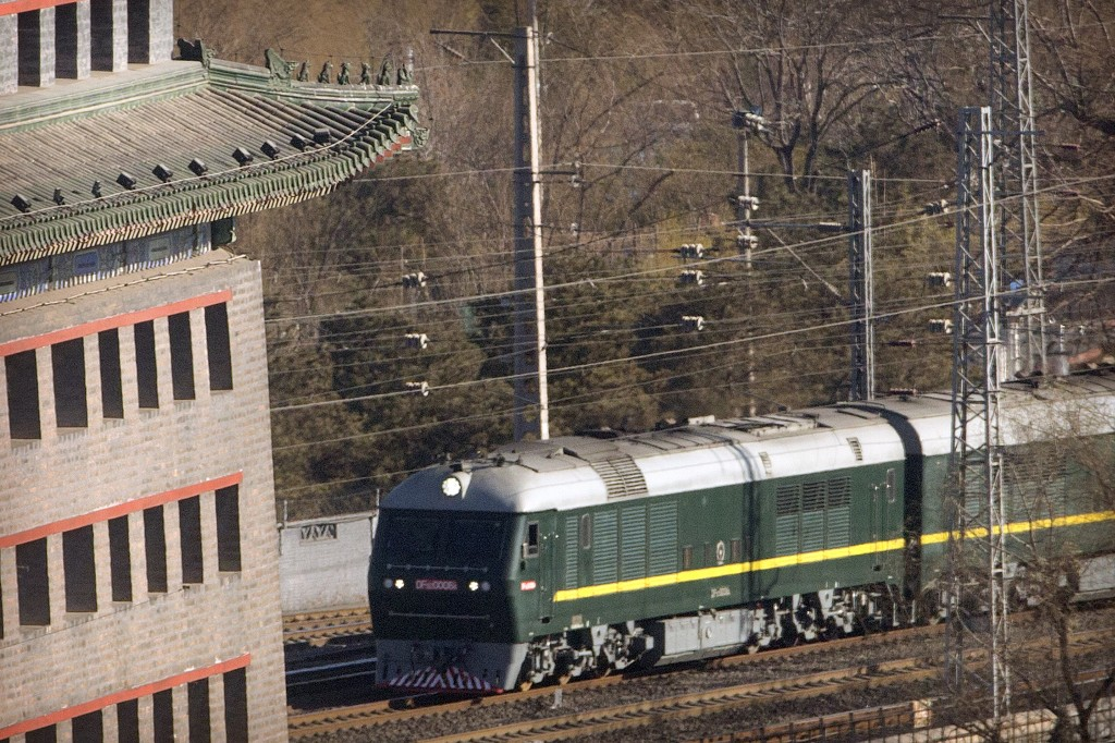 FILE - In this Tuesday, Jan. 8, 2019, file photo,a train similar to one seen during previous visits by North Korean leader Kim Jong Un arrives at Beij