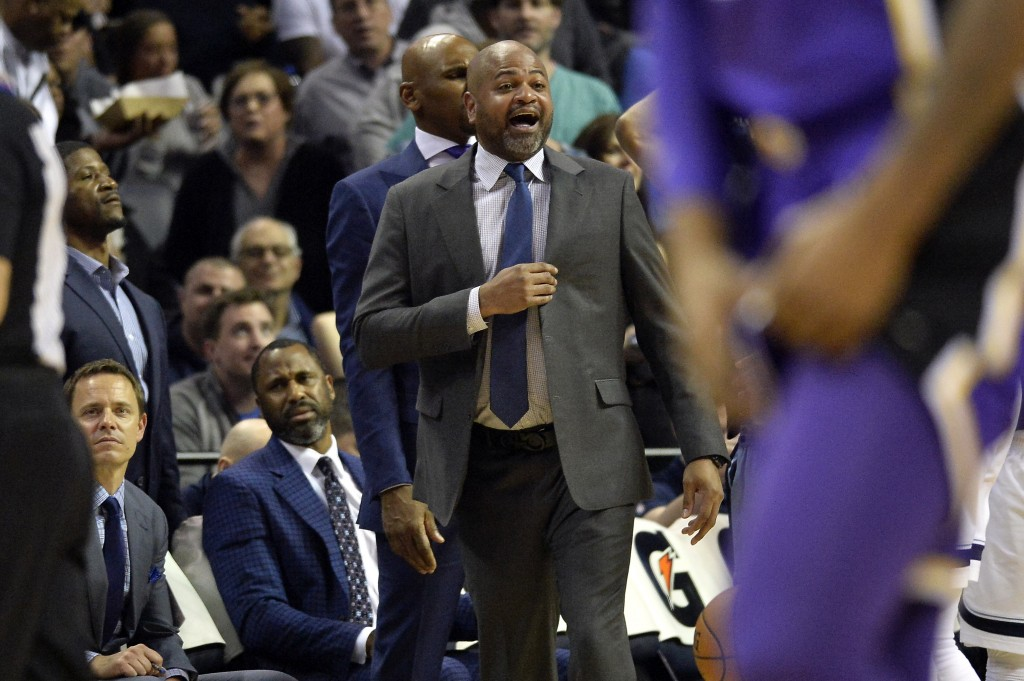 Memphis Grizzlies head coach J.B. Bickerstaff reacts from the sideline in the second half of an NBA basketball game against the Los Angeles Lakers Mon