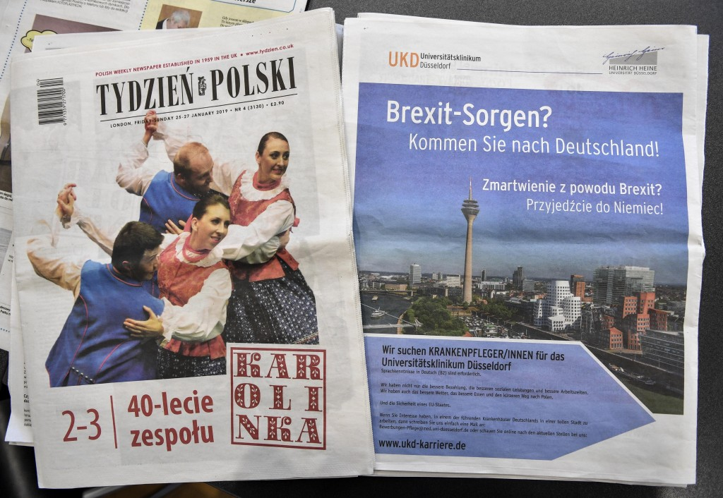"""In this Tuesday, Feb. 12, 2019 photo, an advertisement of the Duesseldorf University Medical Center in Germany reads """"Brexit worries? Come to Germany!"""