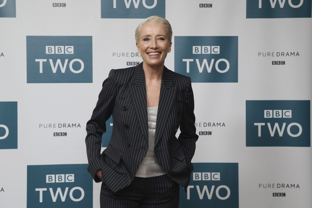 "FILE - In this March 28, 2018 file photo, Emma Thompson appears at a screening of ""King Lear"" in central London. In a letter to Skydance Media, Thomps..."