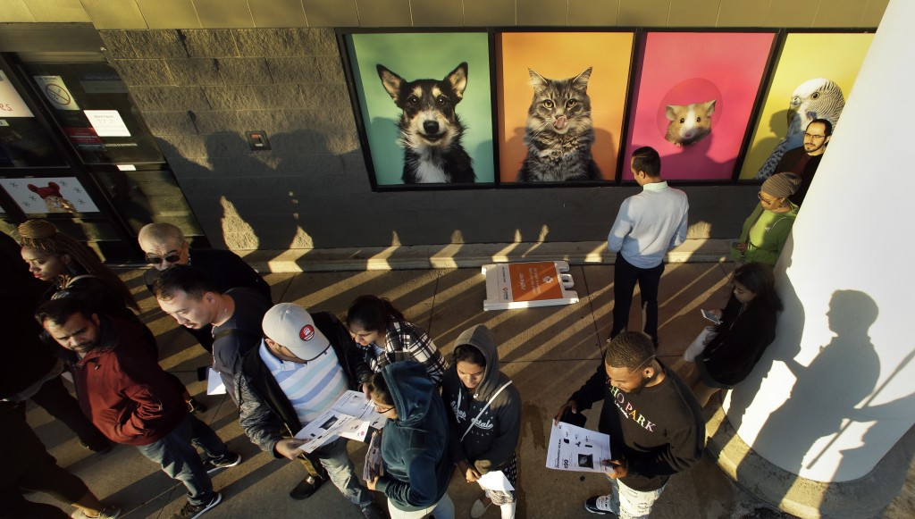 FILE- In this Nov. 22, 2018, file photo people wait in line in front of an adjacent pet store for a Best Buy store to open for an early Black Friday s...