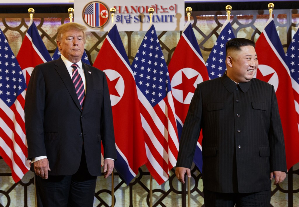 President Donald Trump meets North Korean leader Kim Jong Un, Wednesday, Feb. 27, 2019, in Hanoi. (AP Photo/ Evan Vucci)