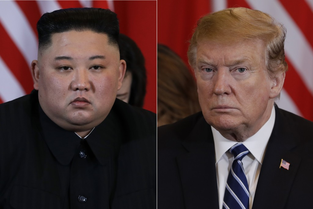 In this combination of images. North Korean leader Kim Jong Un, left, and President Donald Trump during their meeting Thursday, Feb. 28, 2019, in Hano...