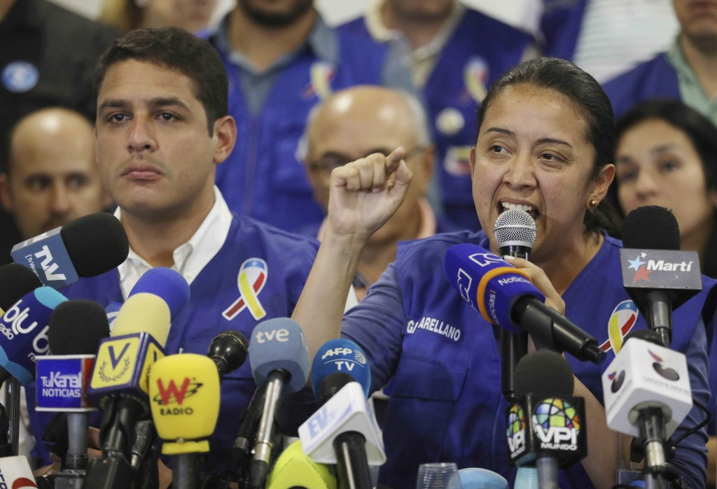 FILE - In this Feb. 21, 2019 file photo, Venezuelan exiled lawmaker Gaby Arellano speaks to the media during a press conference in Cucuta, Colombia. ""