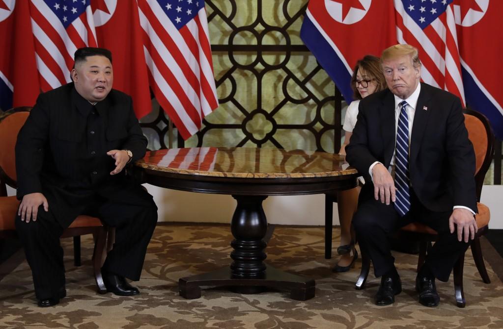 President Donald Trump meets North Korean leader Kim Jong Un, Thursday, Feb. 28, 2019, in Hanoi. (AP Photo/Evan Vucci)