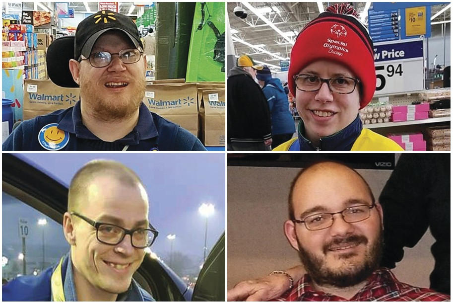 This combination of images shows Walmart greeters, clockwise from top left, John Combs in Vancouver, Wash., Ashley Powell in Galena, Ill., Mitchell Ha...