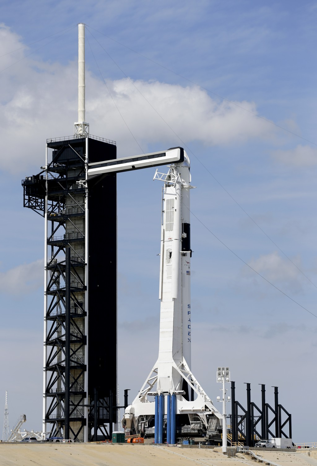 A Falcon 9 SpaceX rocket, ready for launch, sits on pad 39A at the Kennedy Space Center in Cape Canaveral, Fla., Friday, March 1, 2019. The Crew Drago...