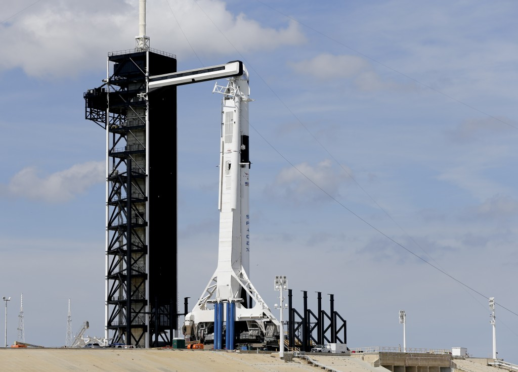 A Falcon 9 SpaceX rocket, ready for launch, sits on pad 39A at the Kennedy Space Center in Cape Canaveral, Fla., Friday, March 1, 2019. The Crew Drago