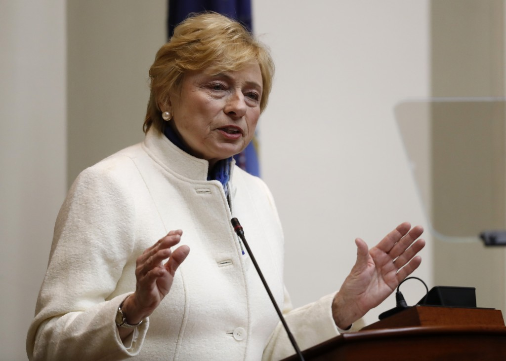 FILE - In this Feb. 11, 2019 file photo, Gov. Janet Mills delivers her State of the Budget address to the Legislature at the State House in Augusta, M...