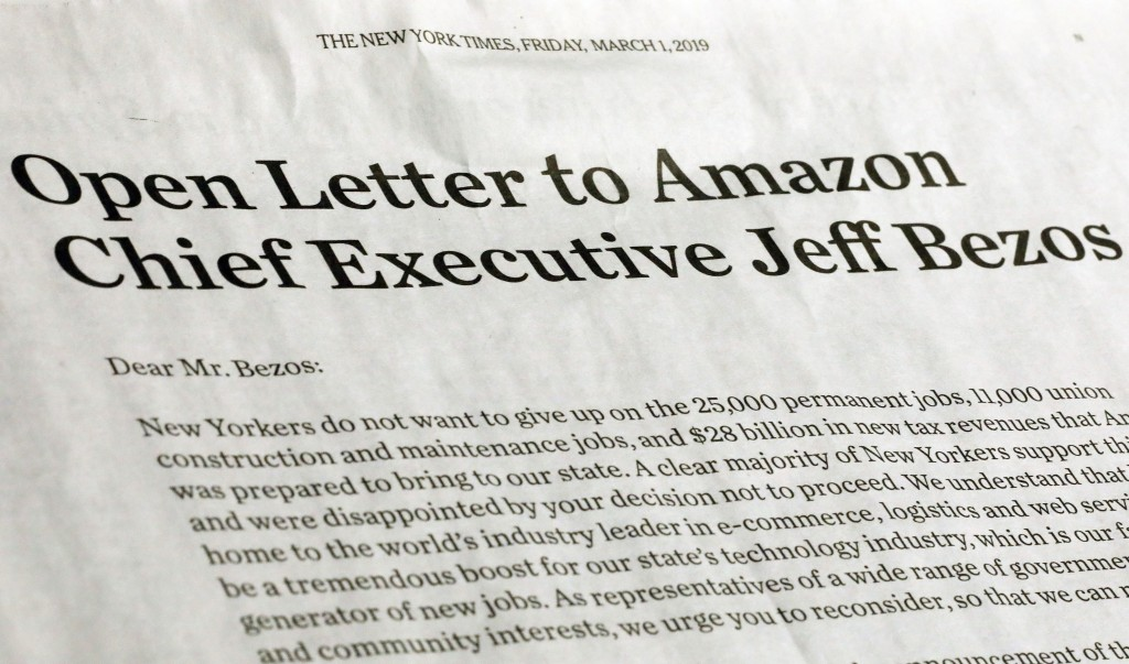 This photo shows a portion of an open letter published in the Friday, March 1, 2019 edition of The New York Times, signed by a group of business leade