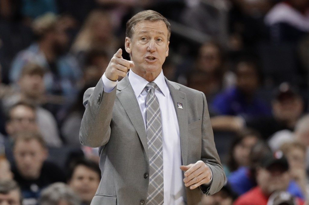 Portland Trail Blazers head coach Terry Stotts directs his team against the Charlotte Hornets during the first half of an NBA basketball game in Charl