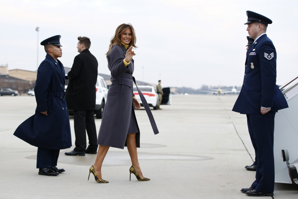 First lady Melania Trump boards an aircraft Monday, March 4, 2019, at Andrews Air Force Base, Md., en route to Tulsa, Okla., to begin a two-day, three