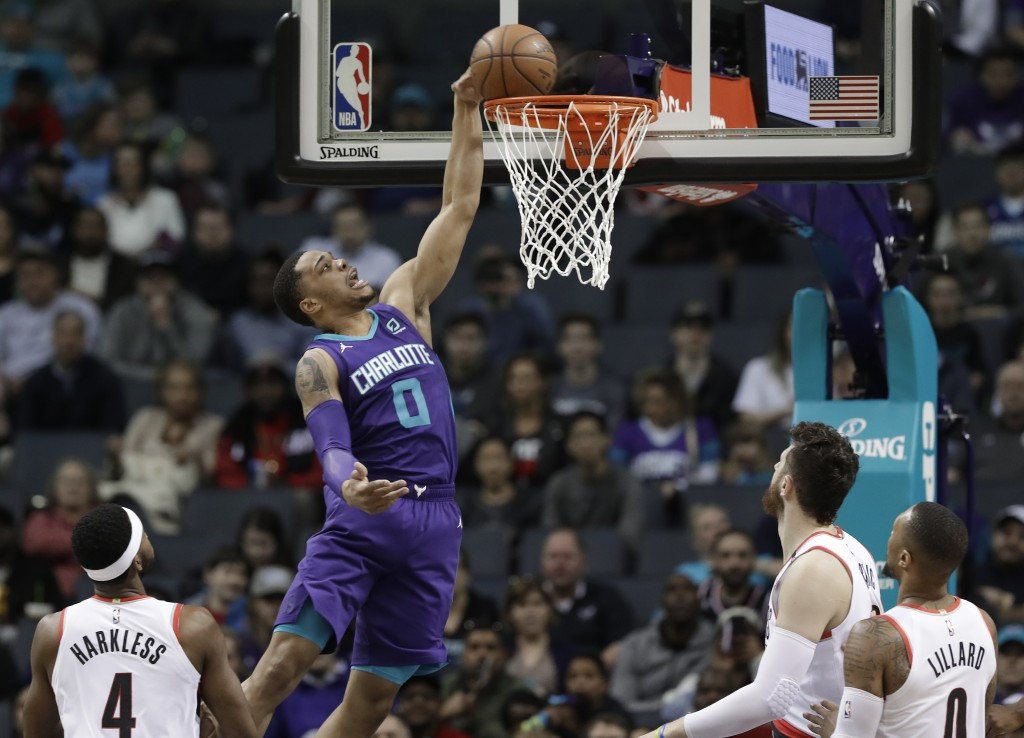 Charlotte Hornets' Miles Bridges (0) goes up to dunk against the Portland Trail Blazers during the first half of an NBA basketball game in Charlotte,