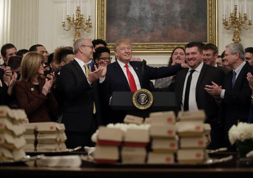 President Donald Trump welcomes 2018 NCAA FCS College Football Champions, The North Dakota State Bison, to the White House in Washington, Monday, Marc