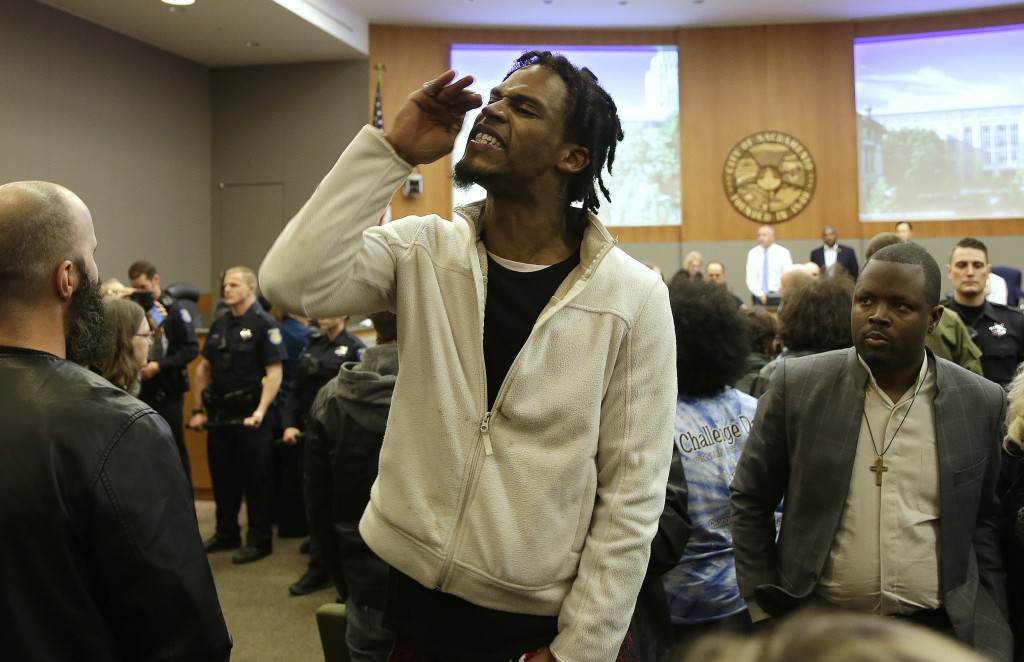 Protester Alexander Clark who is not related to Stephon Clark disrupts the Sacramento City Council during meeting Tuesday, March 5, 2019, in Sacrament...