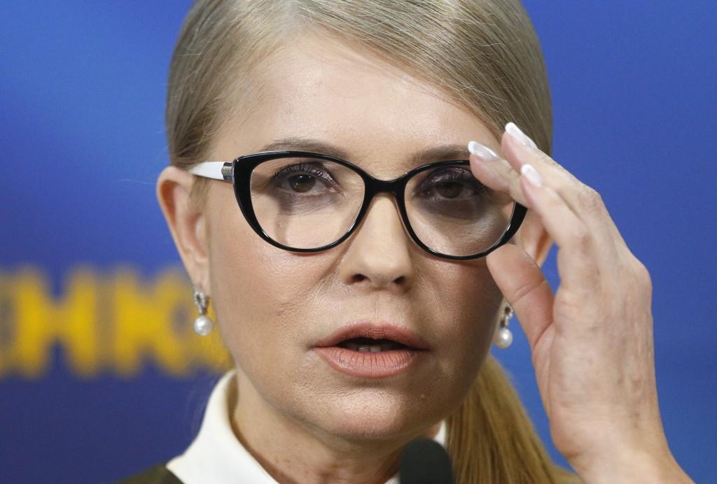 Former Ukrainian Prime Minister Yulia Tymoshenko speaks during her press conference in Kiev, Ukraine, Thursday, March. 7, 2019. Tymoshenko is running