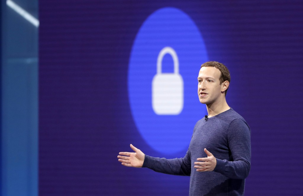 FILE- In this May 1, 2018, file photo, Facebook CEO Mark Zuckerberg makes the keynote speech at F8, Facebook's developer conference in San Jose, Calif...