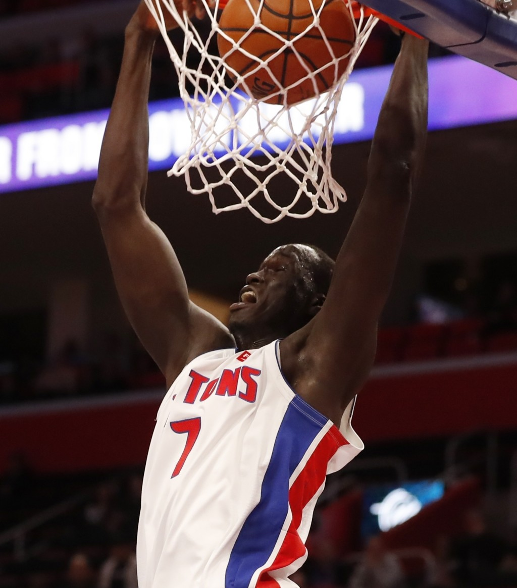 Detroit Pistons forward Thon Maker dunks during the first half of an NBA basketball game against the Minnesota Timberwolves, Wednesday, March 6, 2019,