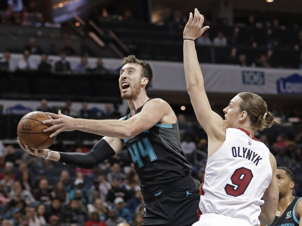 Charlotte Hornets' Frank Kaminsky (44) drives past Miami Heat's Kelly Olynyk (9) during the first half of an NBA basketball game in Charlotte, N.C., W