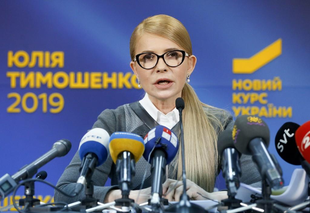 Former Ukrainian Prime Minister Yulia Tymoshenko speaks during her press conference in Kiev, Ukraine, Thursday, March. 7, 2019. Tymoshenko is running ...