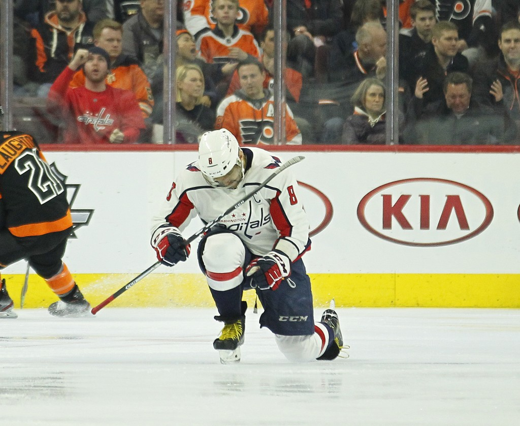 Washington Capitals' Alex Ovechkin celebrates his power play goal during the second period of an NHL hockey game against the Philadelphia Flyers, Wedn