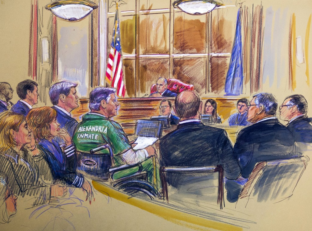 This courtroom sketch depicts former Trump campaign chairman Paul Manafort, center in a wheelchair, during his sentencing hearing in federal court bef...