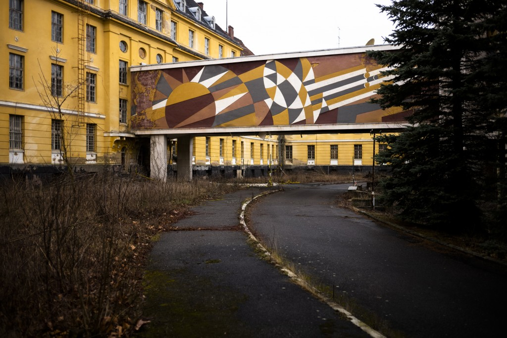 """This Tuesday, Feb. 22, 2019 photo shows a part of the abandoned """"Haus der Offiziere"""", the headquarters for the Soviets' military high command in forme..."""