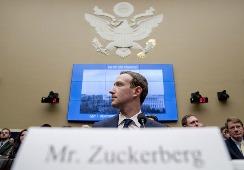 FILE - In this April 11, 2018, file photo Facebook CEO Mark Zuckerberg arrives to testify before a House Energy and Commerce hearing on Capitol Hill i...