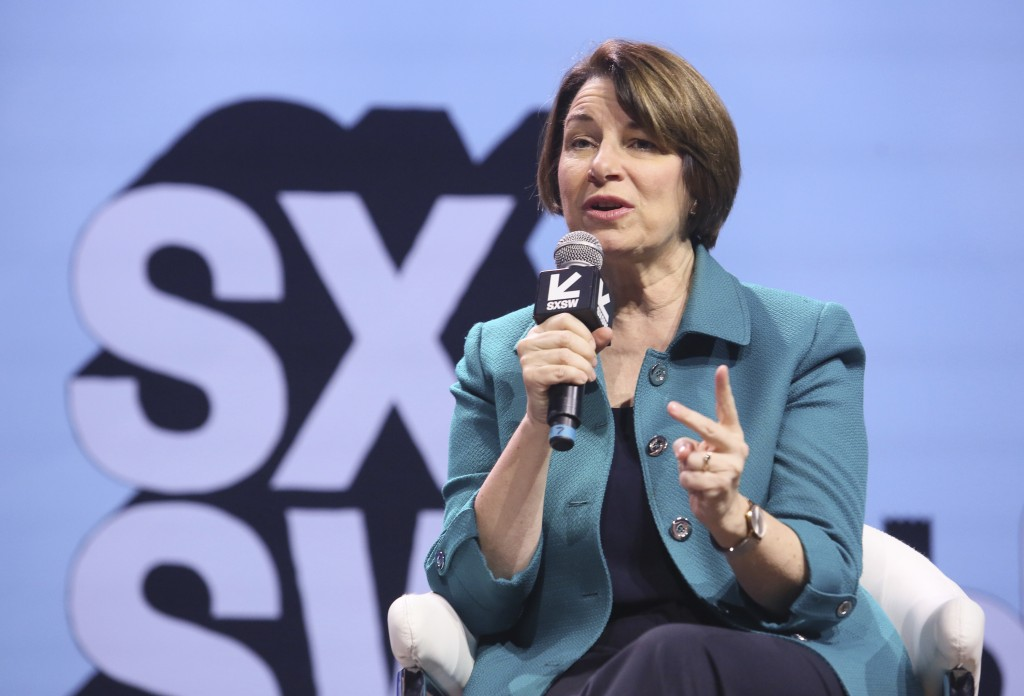 "U.S. Sen. Amy Klobuchar, D-Minn.,  takes part in a ""Conversations About America's Future"" program at ACL Live during the South by Southwest Interactiv"