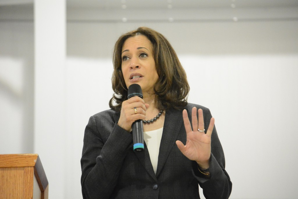 Sen. Kamala Harris, D-Calif., speaks during an event in St. George, S.C., on Saturday, March 9, 2019. Harris is spending two days in South Carolina, h