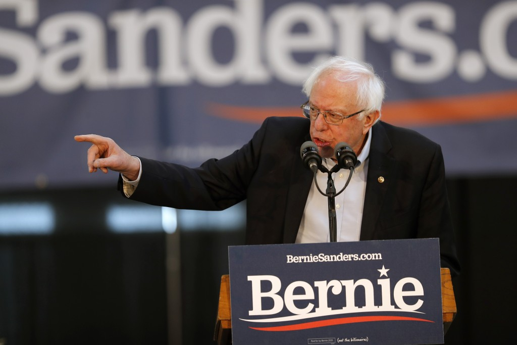 2020 Democratic presidential candidate Sen. Bernie Sanders speaks during a rally, Saturday, March 9, 2019, at the Iowa state fairgrounds in Des Moines