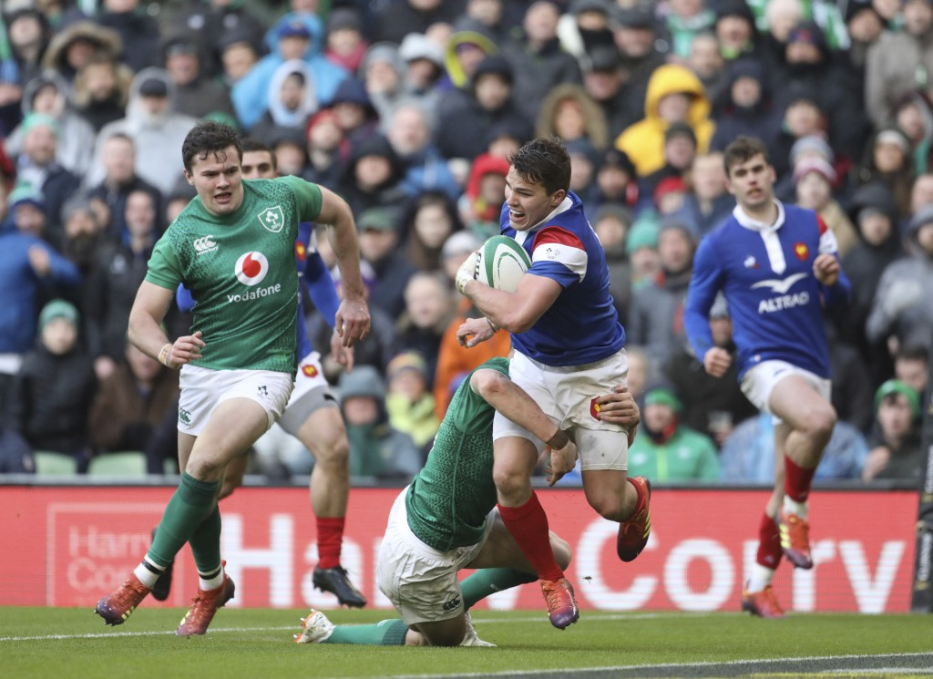France's Antoine Dupont is tackled by Ireland's Gary Ringrose during their Six Nations rugby union international match between Ireland and France at t