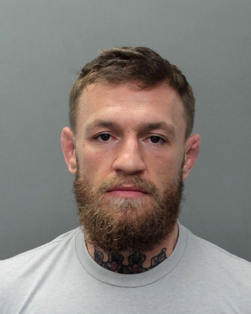 This photo provided by the Miami-Dade Corrections and Rehabilitation Department shows Conor McGregor. Authorities say mixed martial artist and boxer C