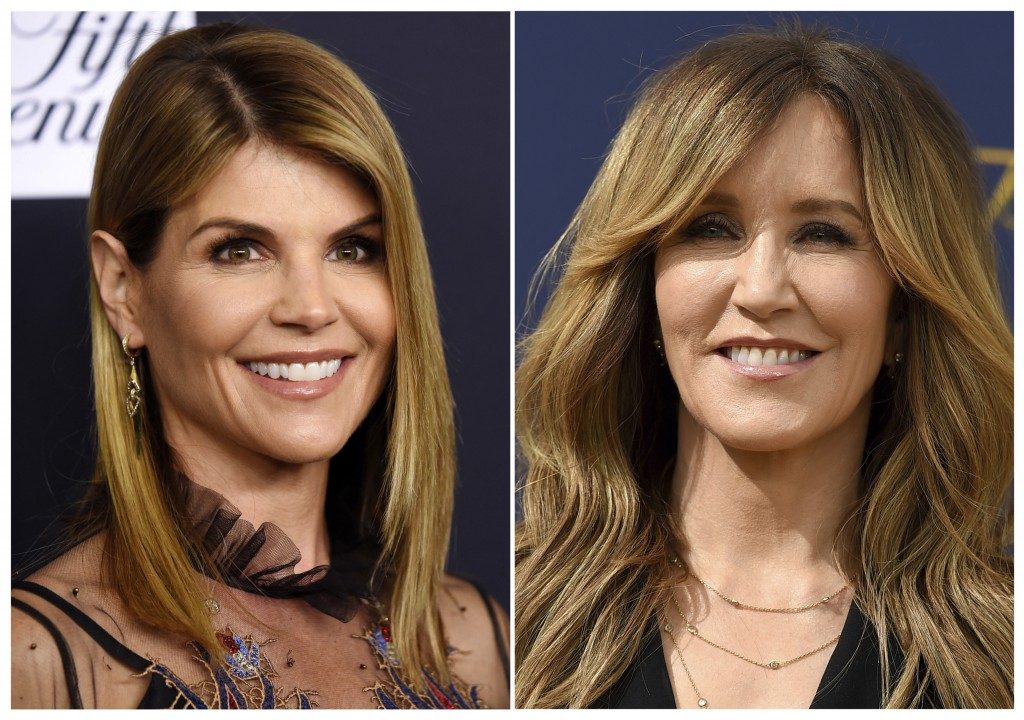 This combination photo shows actress Lori Loughlin at the Women's Cancer Research Fund's An Unforgettable Evening event in Beverly Hills, Calif., on F...