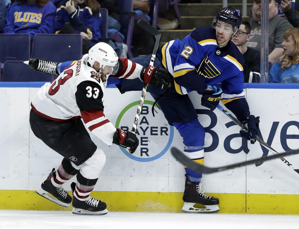 St. Louis Blues' Zach Sanford, right, gets tangled up with Arizona Coyotes' Alex Goligoski (33) during the second period of an NHL hockey game, Tuesda