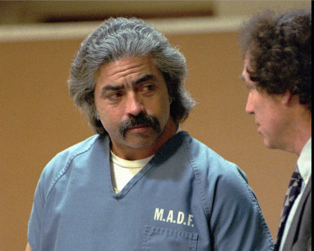 FILE - This Dec. 7, 1993 file photo shows Richard Allen Davis appearing with his public defender, Bruce Kinnison, in a Sonoma County Municipal Court i