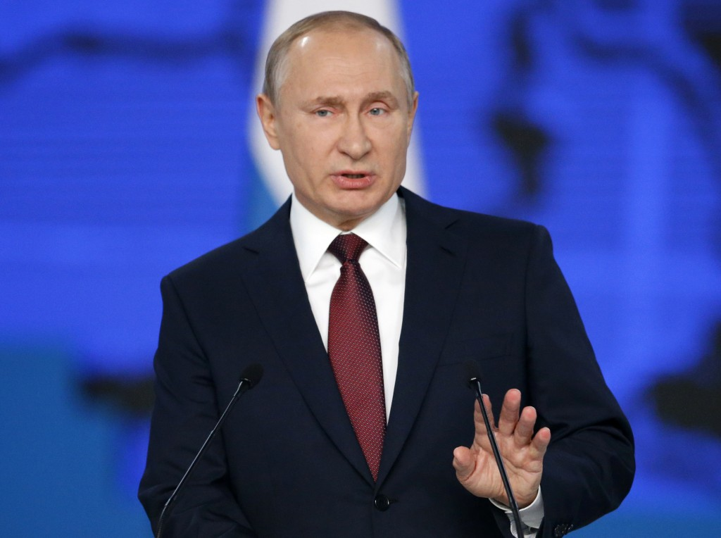 FILE - In this file photo taken on Wednesday, Feb. 20, 2019, Russian President Vladimir Putin delivers a state-of-the-nation address in Moscow, Russia