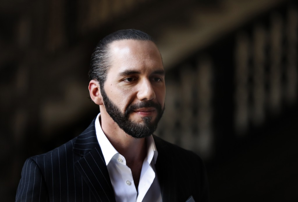 El Salvador's President-elect Nayib Bukele speaks to the press at Mexico's National Palace after meeting with the President Andres Manuel Lopez Obrado