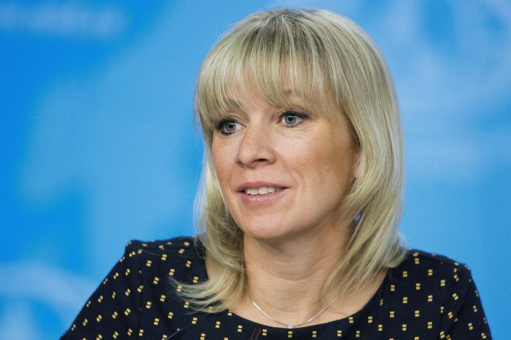 FILE - In this file photo taken on Monday, Jan. 15, 2018, Russian Foreign Ministry spokesperson Maria Zakharova attends Russian Foreign Minister Serge