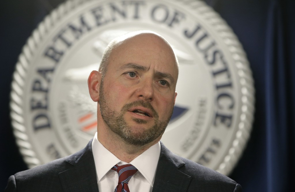 U.S. Attorney for District of Massachusetts Andrew Lelling announces indictments in a sweeping college admissions bribery scandal, during a news confe...
