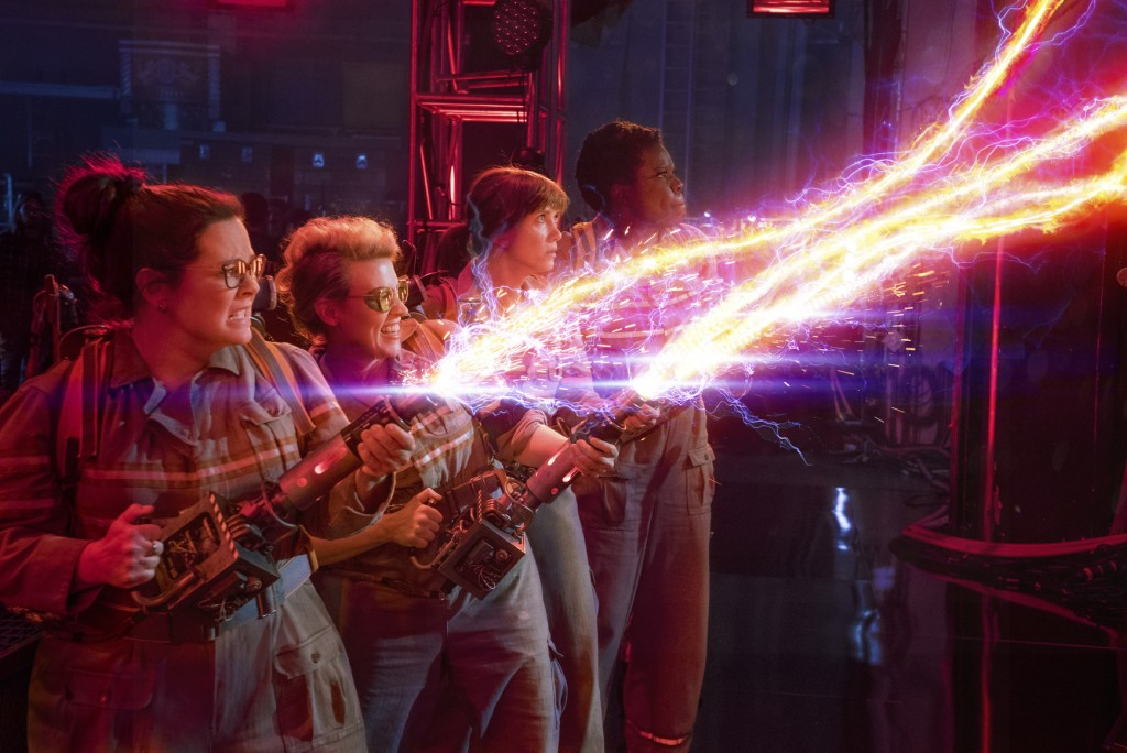 """In this image released by Sony Pictures, from left, Melissa McCarthy, Kate McKinnon, Kristen Wiig and Leslie Jones appear in a scene from, """"Ghostbuste..."""