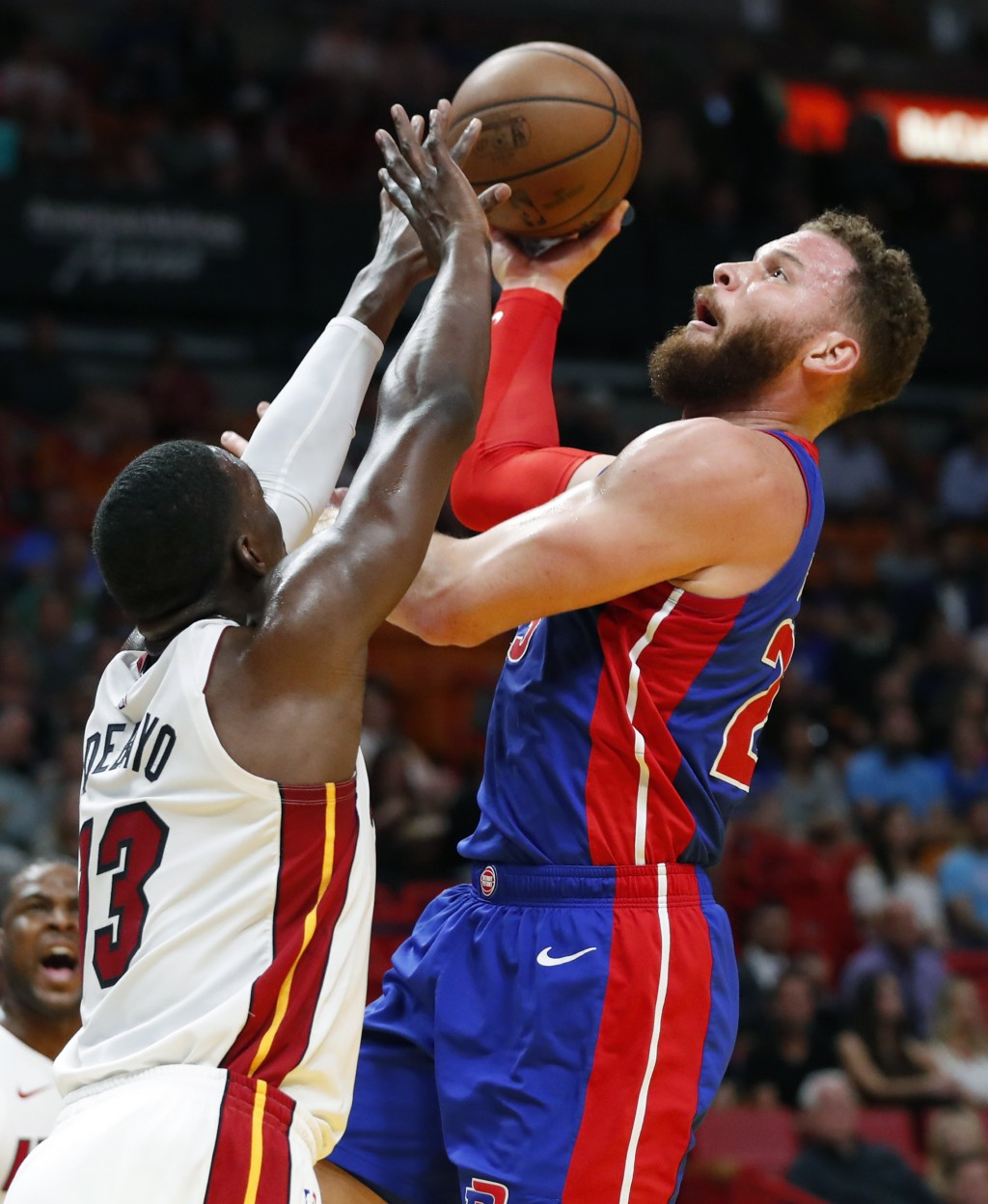 Detroit Pistons forward Blake Griffin (23) shoots against Miami Heat center Bam Adebayo (13) during the first half of an NBA basketball game, Wednesda