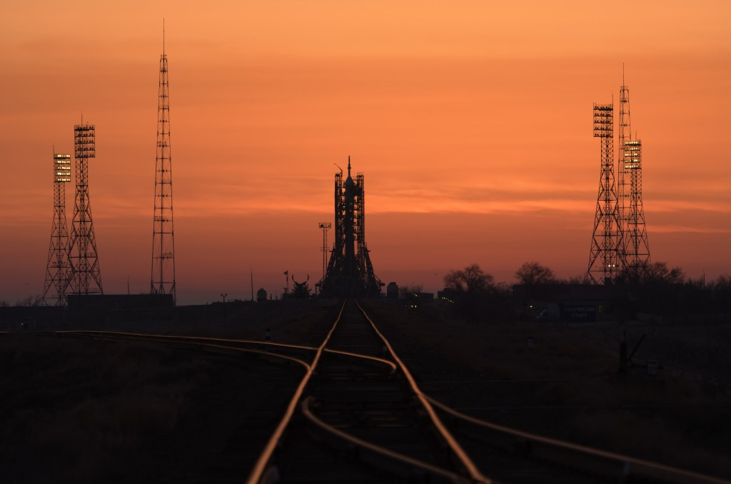 The Soyuz rocket is seen at dawn on launch site 1 of the Baikonur Cosmodrome, Thursday, March 14, 2019, in Baikonur, Kazakhstan. Expedition 59's astro