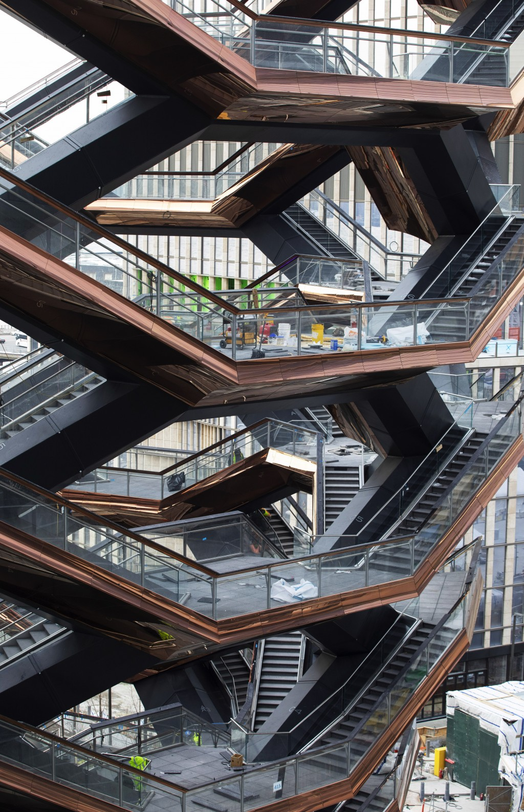"""This March 8, 2019 photo shows the stairs of the """"Vessel,"""" a 150-foot-tall structure in New York. The Thomas Heatherwick design opens to the public Fr"""