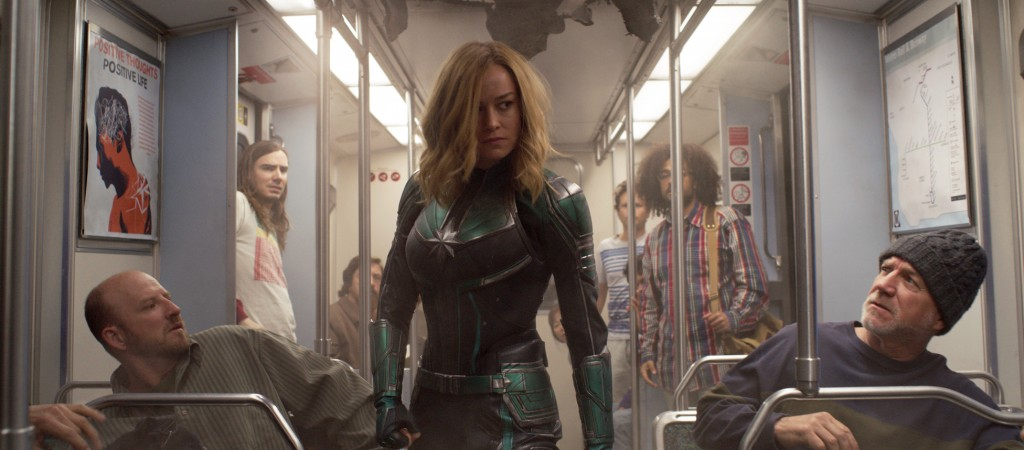 """This image released by Disney-Marvel Studios shows Brie Larson in a scene from """"Captain Marvel."""" Marvel's """"Captain Marvel,"""" the superhero factory's fi..."""